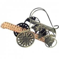 Stojan na víno vozík - prútie, kov