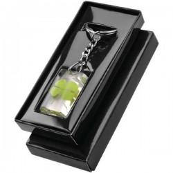 Prívesok na kľúče zelený štvorlístok v darčekovej krabičke