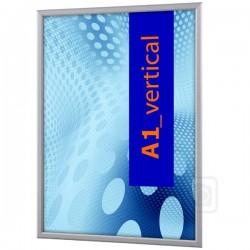 Obojstranný klaprám na sklenený výklad A1 profil 32 mm