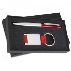 Hliníkové pero s príveskom na kľúče v darčekovej krabičke červená
