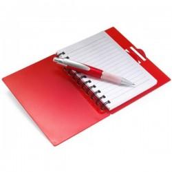 Farebný plastový poznámkový blok s perom farba červená