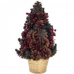 Zdobený vianočný stromček v kvetináči zo šišiek