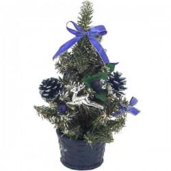 Modro strieborný zdobený vianočný stromček 20 cm