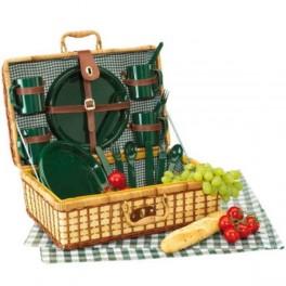 Piknikový kôš so zeleným riadom pre štyri osoby