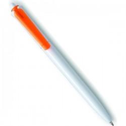 Plastové pero s priesvitným klipom - oranžovo biele